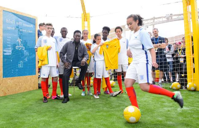 Slide 17 of 18: Pele launches the world's first human powered football pitch in association with Shell in London, the UK, on June 30, 2016.