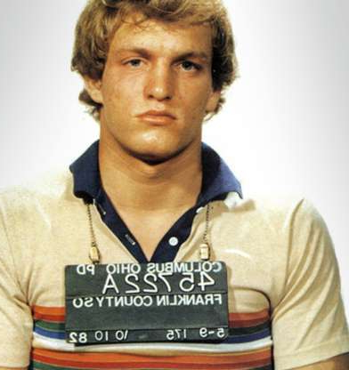 Slide 33 of 113: In this handout, American actor and playwright Woody Harrelson in a mug shot following his arrest for disturbing the peace, Columbus, Ohio, October 1982. (Photo by Kypros/Getty Images)