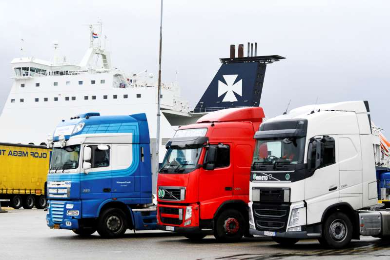 The trucks are seen as Dutch Minister of Foreign Affairs Stef Blok and Minister of Foreign Trade and Development Cooperation Sigrid Kaag (not pictured) visit a ferry terminal to review that cargo can be transported quickly via Dutch ports after the Brexit in Vlaardingen, Netherlands March 13, 2019. REUTERS/Piroschka van de Wouw