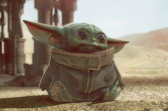 a close up of a toy: Concept art of Baby Yoda from The Mandalorian on Disney Plus.