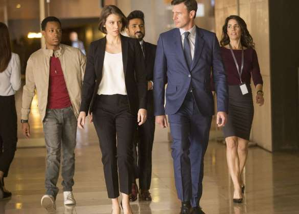 a group of people posing for the camera: Tough but sensitive super-agent Will Chase -- codename Whiskey Cavalier -- teams up with codename Fiery Tribune, played by The Walking Dead's Lauren Cohan in this ABC spy romp.