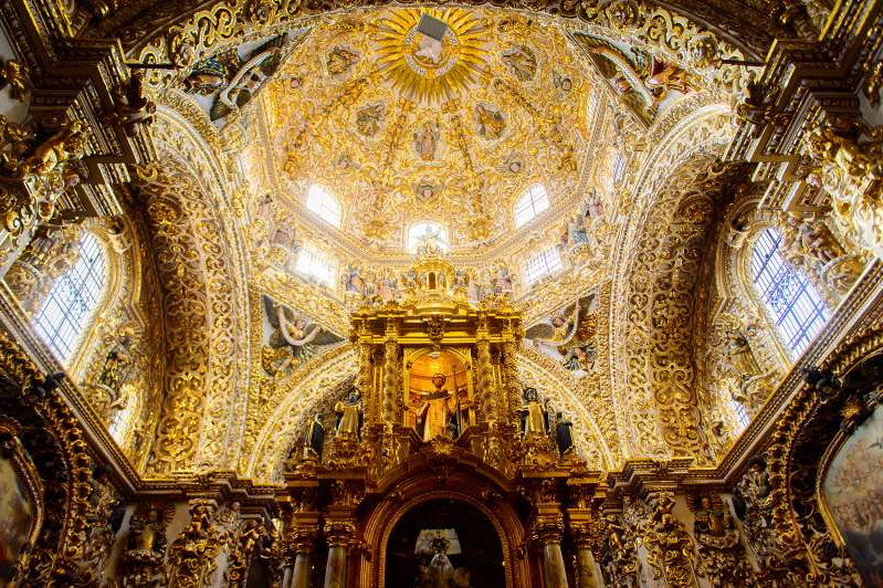 In Mexico, Puebla's 17th-century Chapel of the Rosary is covered in 23-karat gold leaf.