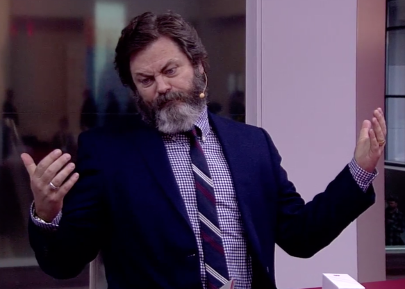 Nick Offerman standing in front of a mirror posing for the camera: Alex Garland codes this FX show about a computer engineer probing the shadowy Silicon Valley tech company she suspects is behind the disappearance of her boyfriend. Nick Offerman stars.