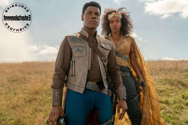 Slide 3 of 12: Stormtrooper-turned-Resistance fighter Finn (John Boyega) and newcomer to the saga Jannah (Naomi Ackie).