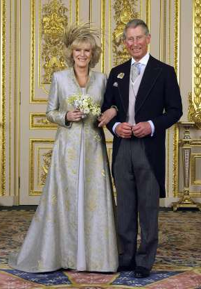 Slide 4 of 27: WINDSOR, ENGLAND - APRIL 9: (EMBARGOED TILL 0001 BST MONDAY 11 APRIL 2005) TRH Prince Charles and The Duchess Of Cornwall, Camilla Parker Bowles pose in the white drawing room for the Official Wedding group photo following their earlier marriage at The Guildhall, at Windsor Castle on April 9, 2005 in Berkshire, England. (Photo by Hugo Bernand/ROTA/Anwar Hussein Collection/Getty Images)