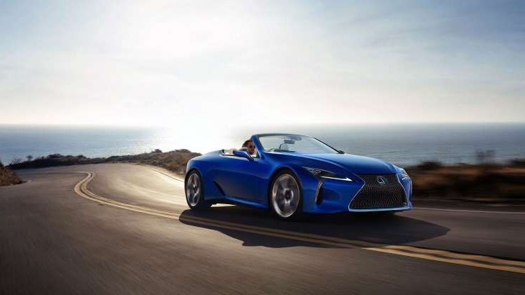 Slide 5 of 21: 2021-Lexus-LC500-Convertible-front-three-quarter-in-motion-2.jpg
