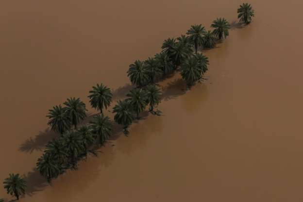 Slide 5 of 9: An aerial view showing trees in the middle of flood in Khuzestan province, Iran, April 5, 2019. Picture taken April 5, 2019. Mehdi Pedramkhoo/Tasnim News Agency/via REUTERS ATTENTION EDITORS - THIS PICTURE WAS PROVIDED BY A THIRD PARTY