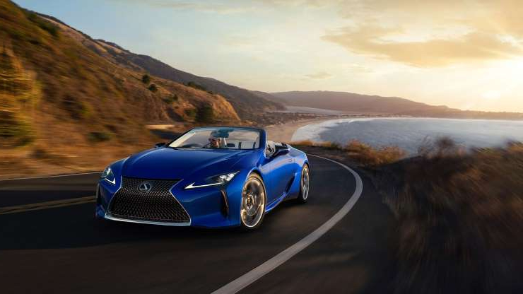 Slide 9 of 21: 2021-Lexus-LC500-Convertible-front-three-quarter-in-motion-1.jpg
