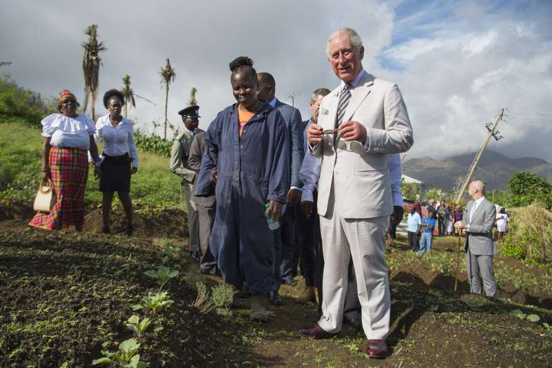 The Prince of Wales visits Bellevue Chopin Farm on Dominica during his 2017 tour of hurricane-ravaged Caribbean islands.