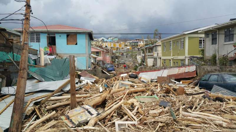 View of damage caused by Hurricane Maria in Roseau, Dominica