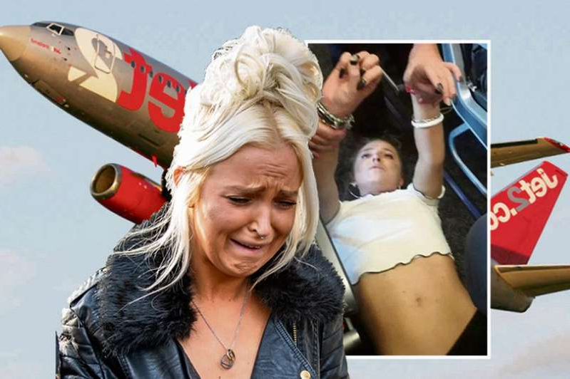 a woman standing in front of a group of people posing for the camera: Chloe Haines cried as she headed to court where she is accused of trying to open the door of a Jet2 plane midway through a flight