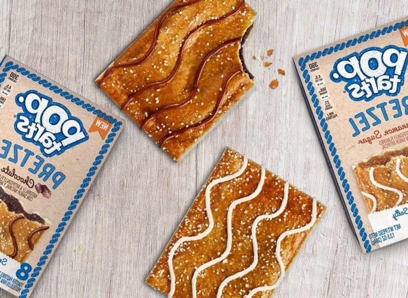 a wooden cutting board: pop tart pretzel