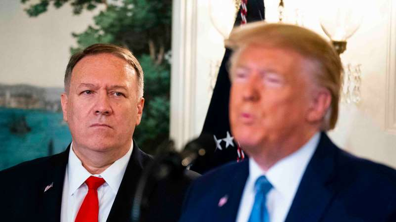Donald Trump, Mike Pompeo are posing for a picture: Whatever his plans, Mike Pompeo, President Trump's secretary of state, is now tied intimately to the Ukraine controversy.