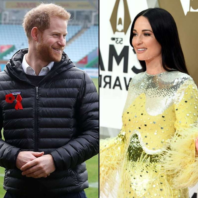 Kacey Musgraves, Prince Harry are posing for a picture: Kacey Musgraves and Prince Harry.
