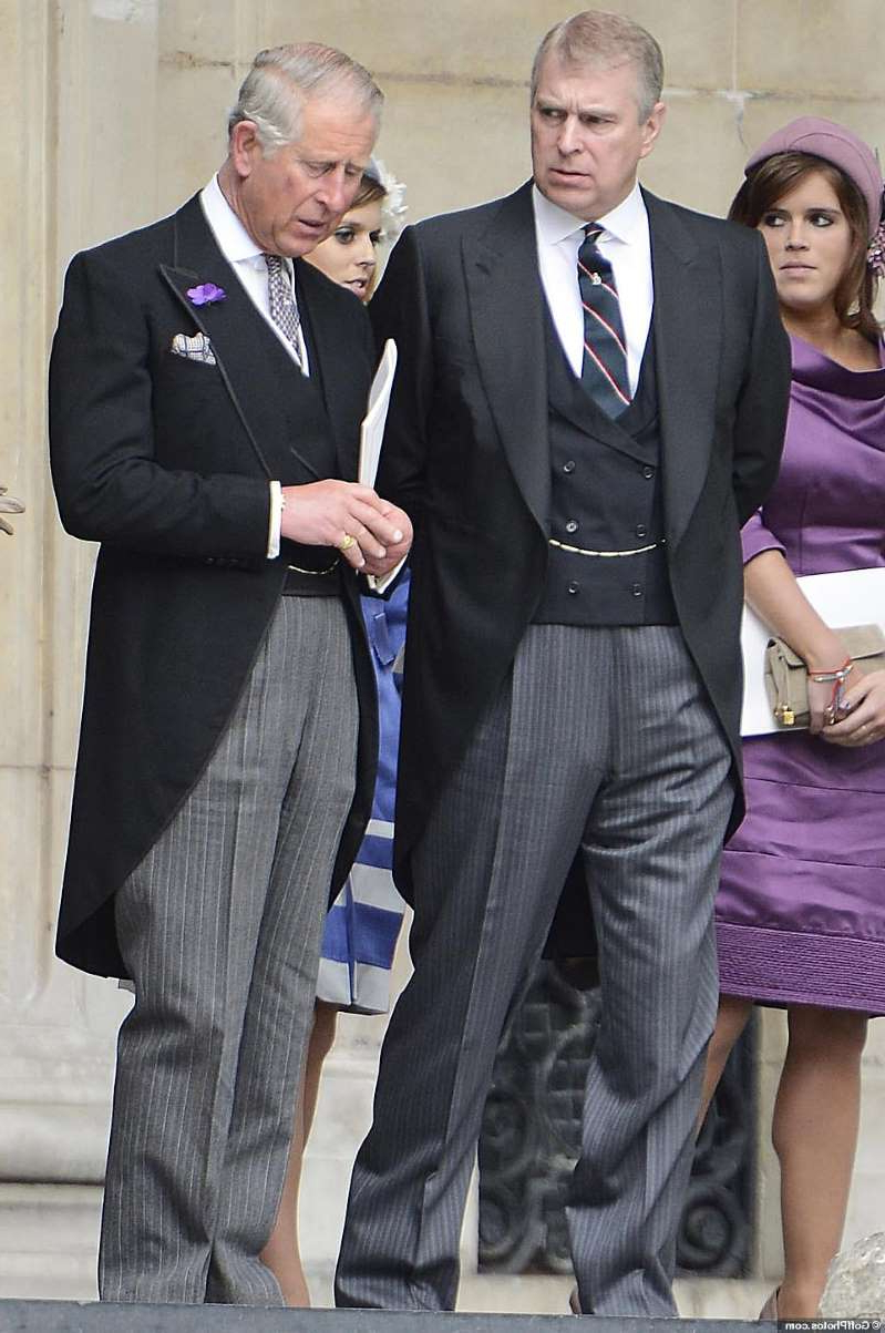 Princess Eugenie of York, Prince Andrew, Duke of York standing next to a person in a suit and tie: Charles and his mother decided the Duke should step down
