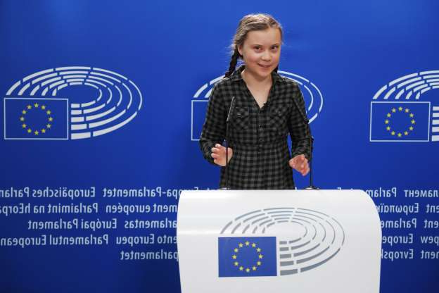 Slide 10 of 14: Swedish climate activist, Greta Thunberg, 16, takes part in a press conference during a plenary session at the European Parliament on April 16, 2019 in Strasbourg, eastern France. (Photo by FREDERICK FLORIN / AFP) (Photo credit should read FREDERICK FLORIN/AFP/Getty Images)