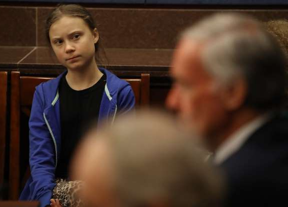 Slide 14 of 14: WASHINGTON, DC - SEPTEMBER 17: Greta Thunberg, the 16-year-old climate change activist from Sweden, attends a Senate Climate Change Task Force meeting on Capitol Hill, on September 17, 2019 in Washington, DC. On September 20th students from around the world plan a walk out to demand action on climate change. (Photo by Mark Wilson/Getty Images)