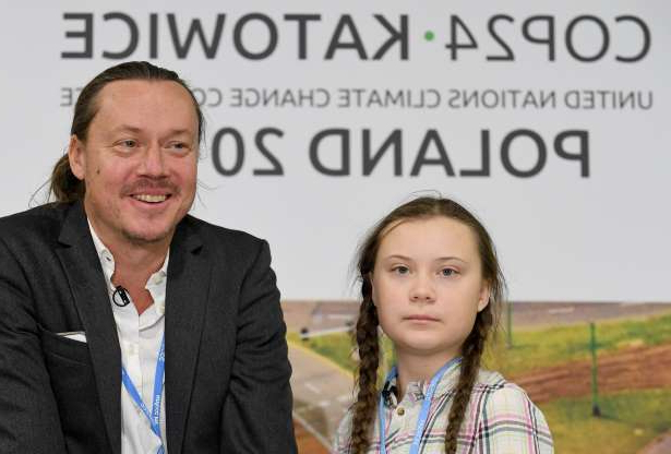 Slide 2 of 14: Swedish 15-year old climate activist, Greta Thunberg and her father Svante attend a press conference during the COP24 summit on climate change in Katowice, Poland, on December 04, 2018. - Greta decided to go on school strike every Friday in front of the Swedish parliament to get politicians to act on climate chance following Swedens hottest summer ever. (Photo by Janek SKARZYNSKI / AFP) (Photo credit should read JANEK SKARZYNSKI/AFP/Getty Images)