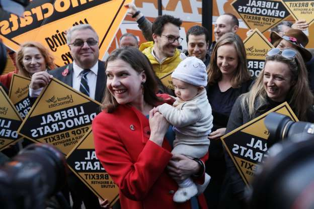 Slide 27 of 31: LONDON, ENGLAND - NOVEMBER 06: Leader of the Liberal Democrats Jo Swinson attends an election campaign event in Golders Green on November 6, 2019 in London, England. (Photo by Dan Kitwood/Getty Images)