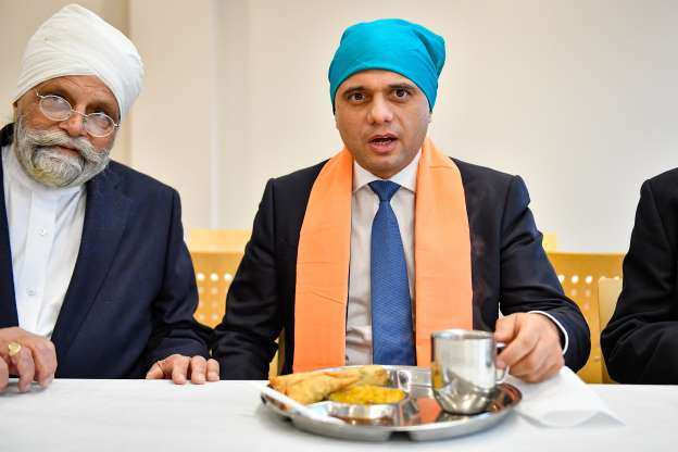 Slide 3 of 31: Chancellor of the Exchequer Sajid Javid during a visit to Nanaksar Gurdwara in Coventry while on the campaign trail ahead of the General Election. PA Photo. Picture date: Tuesday November 19,2019. Photo credit should read: Jacob King/PA Wire (Photo by Jacob King/PA Images via Getty Images)