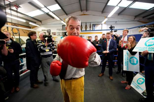 Slide 30 of 31: BOLSOVER, ENGLAND - NOVEMBER 05: Brexit party leader Nigel Farage attends an election campaign event at Bolsover Boxing Club on November 5, 2019 in Bolsover, England. The UK's main parties are gearing up for a December 12 general election after the motion was carried in a bid to break the current Parliamentary deadlock over Brexit. (Photo by Christopher Furlong/Getty Images)