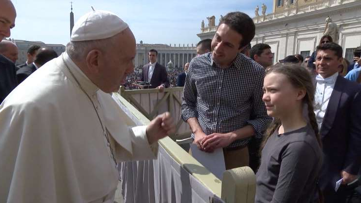 Slide 4 of 14: Climate activist Swedish teenager Greta Thunberg meets Pope Francis during the weekly audience at Saint Peter's Square at the Vatican in this still image taken from a video, April 17, 2019. Vatican Media/Handout via REUTERS THIS IMAGE HAS BEEN SUPPLIED BY A THIRD PARTY.