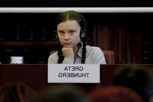 Slide 5 of 14: ROME, ITALY - APRIL 18: Swedish teenage climate activist Greta Thunberg takes part in a seminar on climate at the Italian Senate, on April 18, 2019 in Rome, Italy. Greta Thunberg initiated the school strike for climate movement back in November 2018. (Photo by Simona Granati - Corbis/Getty Images,)