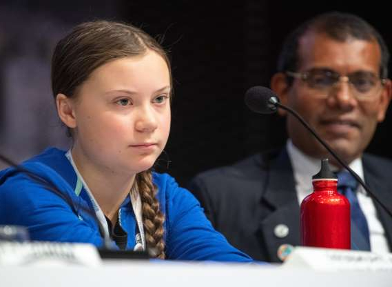 Slide 8 of 14: 13 December 2018, Poland, Kattowitz: Mohamed Nasheed, former President of the Maldives, and Greta Thunberg, a young Swedish climate activist, attend a press conference at the World Climate Summit. The UN climate summit on climate change will take place from 03-14 December 2018 in the southern Polish city of Katowice. Photo: Monika Skolimowska/dpa-Zentralbild/dpa (Photo by Monika Skolimowska/picture alliance via Getty Images)