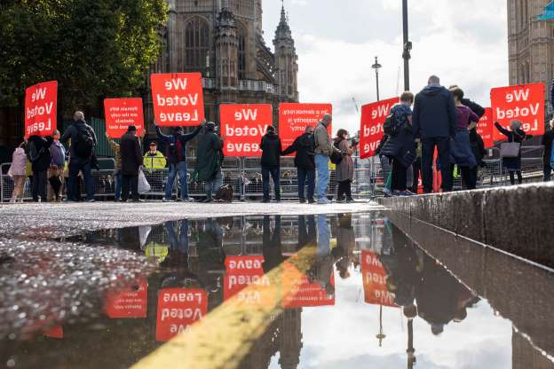 Slide 9 of 60: London, England, UK, October 1st 2019. Brexit supporters protest towards people including MPs entering the Houses of Parliament. (Photo credit should read Mark Hawkins/Composed Images / Barcroft Media via Getty Images)
