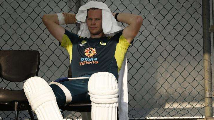 Steve Smith in a cage: Steve Smith trains before the first Test against Pakistan at the Gabba.