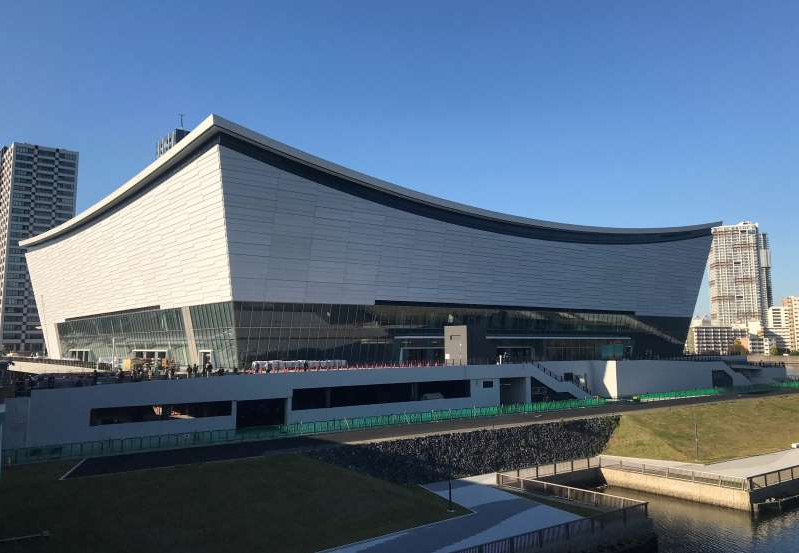 the roof of a building: An exterior view of Ariake Arena, the venue for Tokyo 2020 Olympic and Paralympic Games volleyball and wheelchair basketball events, in Tokyo
