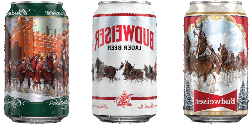 a can of soda: Budweiser is releasing four limited-edition Holiday Stein cans featuring its iconic Clydesdale horses on each.