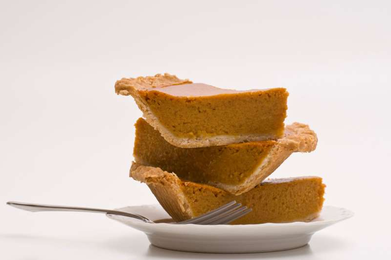 a piece of cake on a plate: While pre-baked pumpkin pie can be frozen, keep in mind that the texture may suffer after it's been thawed.