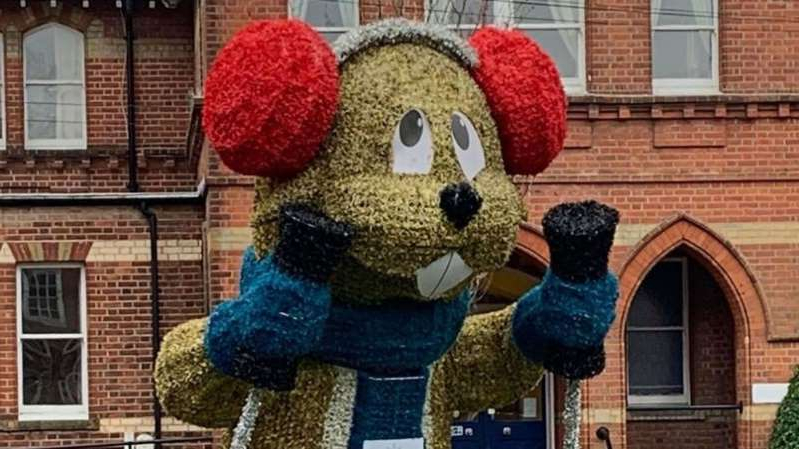a teddy bear sitting in front of a building: The council said the marmot will appeal to children