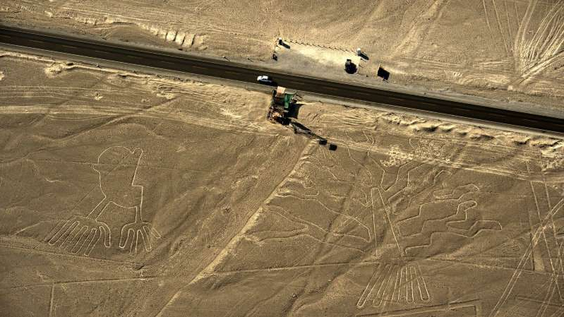 An aerial view of some of the Nazca Lines in Peru. Some of the shapes are believed to date from at least 100 B.C.