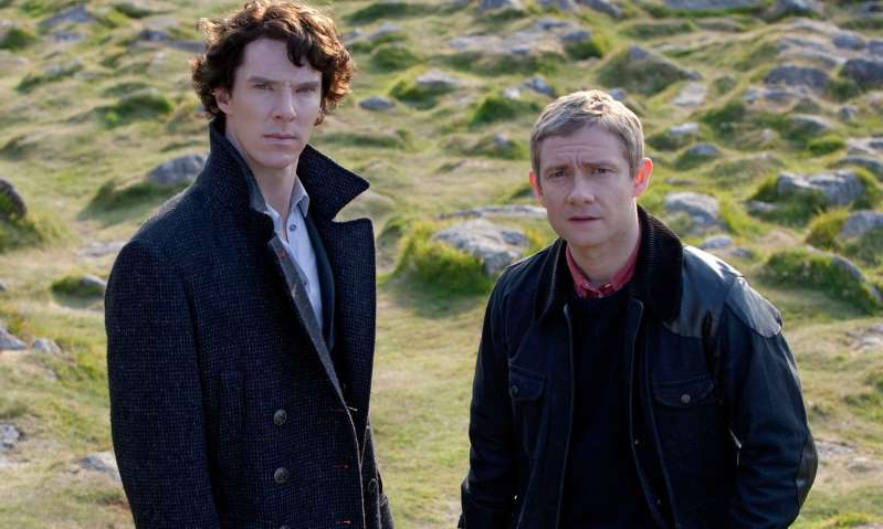 Martin Freeman, Benedict Cumberbatch that are standing in the grass: Sherlock, 'The Hounds of Baskerville'