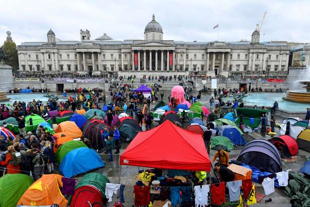 Slide 14 of 50: Tents in London's Trafalgar Square where Extinction Rebellion climate change protesters have been told by the Metropolitan Police they must assemble. (Photo by Kirsty O'Connor/PA Images via Getty Images)