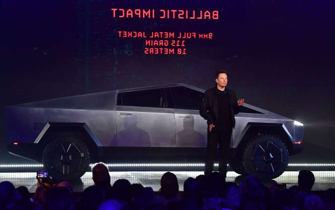 Tesla co-founder and CEO Elon Musk speaks during the unveiling of the all-electric battery-powered Tesla's Cybertruck at Tesla Design Center in Hawthorne, California on November 21, 2019. (Photo by FREDERIC J. BROWN / AFP) (Photo by FREDERIC J. BROWN/AFP via Getty Images)
