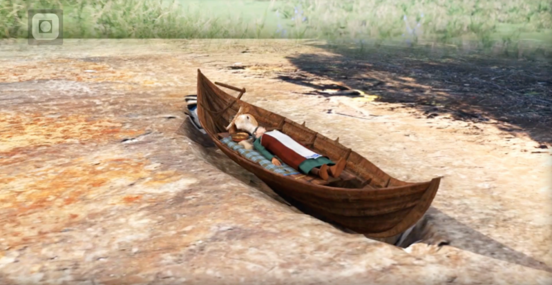 a boat sitting on top of a sandy beach: Artist's depiction of the woman's boat grave, placed atop an earlier grave dating back approximately 100 years.