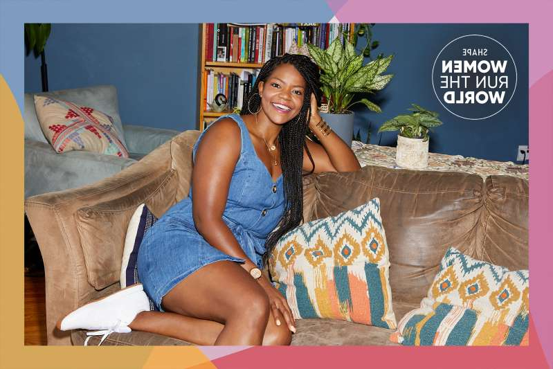a woman sitting on a couch: Read how King went from crash cardio and yo-yo dieting to VP of the Women's Strength Coalition.