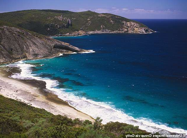 a body of water with Myrtos Beach in the ocean: A thorough land and sea search of Torndirrup National Park (pictured) started on Monday night