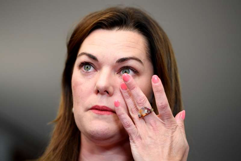 "CANBERRA, AUSTRALIA - NOVEMBER 25: Senator Sarah Hanson-Young reacts during a press conference after winning her defamation case against against former Senator David Leyonhjelm today in the Senate at Parliament House on November 25, 2019 in Canberra, Australia. Australian spy agency ASIO is investigating reports China tried to plant an operative as an MP in a seat in Federal Parliament. Fairfax Media and Channel Nine's 60 Minutes reported over the weekend that Chinese intelligence agents offered a million dollars to pay for the political campaign of Liberal Party member Bo ""Nick"" Zhao, to run for a Melbourne seat. Nick Zhao was found dead in a Melbourne hotel room shortly after approaching ASIO about the offer, with his cause of death still unknown. (Photo by Tracey Nearmy/Getty Images)"