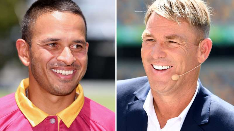 Shane Warne, Usman Khawaja are posing for a picture