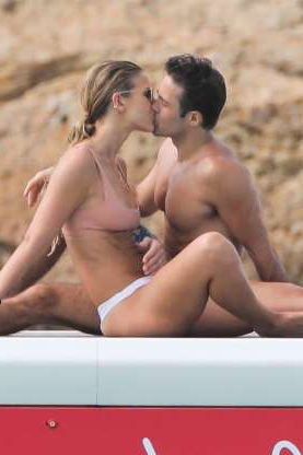 Slide 106 of 132: Pippa Middleton's brother-in-law, Spencer Matthews, and his wife, model Vogue Williams, packed on the PDA while vacationing at his family's Eden Rock Hotel in St. Barts on Jan. 4.