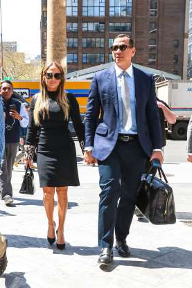 Slide 110 of 132: Jennifer Lopez and Alex Rodriguez looked coordinated and in love as they held hands heading into a meeting at Hudson Yards in New York City on April 17.