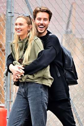 Slide 6 of 132: Model Laurens van Leeuwen hugged model girlfriend Romee Strijd from behind while out and about in New York City on Oct. 31.