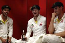 Steve Smith wearing a hat: Steve Smith, centre, celebrated Australia's retention of the Ashes in September.