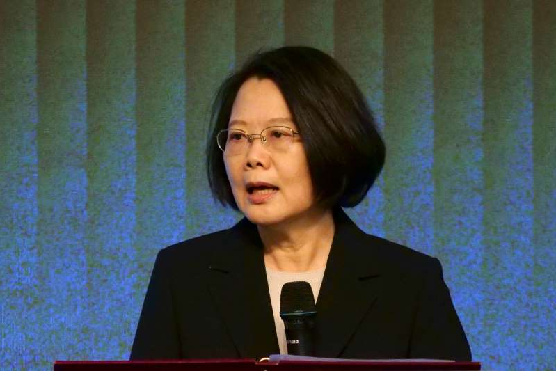 Tsai Ing-wen posing for the camera: FILE PHOTO: Taiwan's President Tsai Ing-wen speaks to members of the American Chamber of Commerce at their annual general meeting in Taipei
