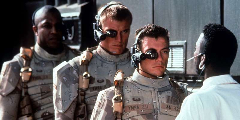 Dolph Lundgren et al. holding wine glasses: Soldiers with super sight and telepathy could rule the battlefield in 30 years.