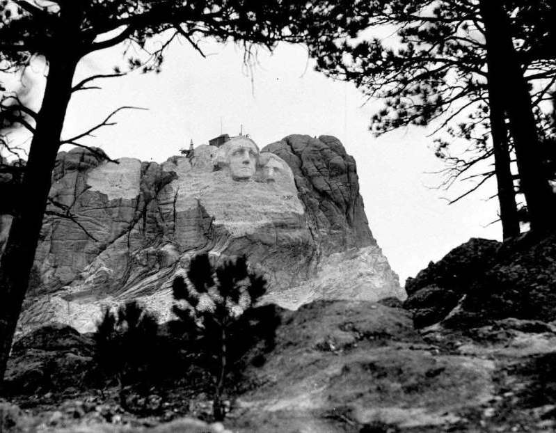 FILE - In this May 2,1933, file photo shows the carved face of U.S. president George Washington on Mt. Rushmore, in South Dakota. The last living worker who helped construct Mount Rushmore National Memorial in South Dakota's Black Hills has died. Donald